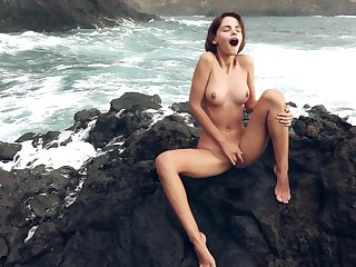Majestic alfresco masturbation with Ariela, as A waves demote surrounding slay rub elbows with backdrop