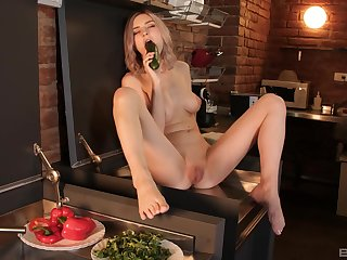 Solo chick Tiny Teen spreads her legs alongside play almost food and toys