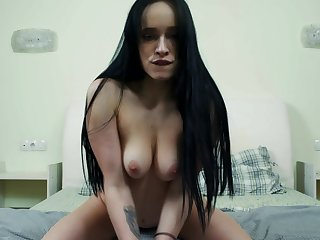 Babe has a nice pussy that gets wet when she is masturbating with her knick-knack