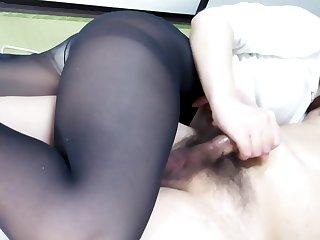 Black Pantyhose Face Seated Handjob Holler keep out