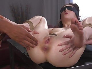 Helpless unreserved is tied, blindfolded and fucked in the ass
