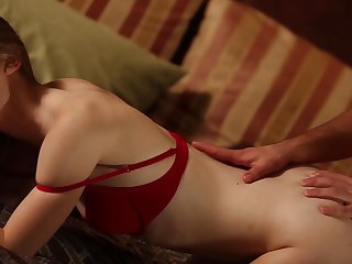 Looker in red bra gets fucked nicely with the addition of bit by bit by the brush follower groupie
