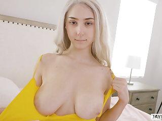 Humongous natural tits twerking cum old bag
