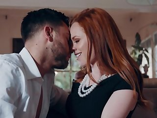 Red-haired lovely with lap outer rides penis till pussy creampie