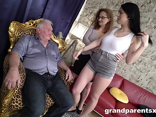 Fine women share senior cock in amazing CFNM