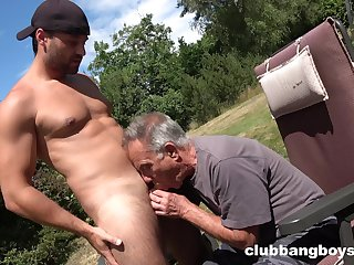 Elderly gay man sucks young nepher's dick