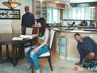 Sweetie tricks her confessor into thinking she's busy upon the homework