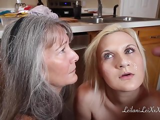Grown up dame is giving a free blowjob specification to their way step- daughter, during a threesome