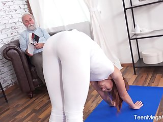 An ancient man with a strange mind fucks his fit stepdaughter